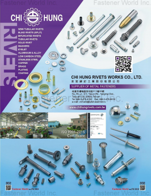 Semi Tubular Rivets, Blind Rivets (Split), Bifurcated Rivets, Tubular Rivets, Solid Rivet, Washers, Eyelet, Aluminium & Alloy, Low Carbon Steel, Stainless Steel, Copper, Brass, Plating, Coating, Special Screws
