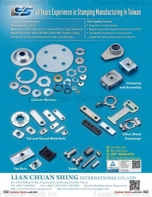Stamping and Assembly, Custom Washers, Tab and Round Weld Nuts, Other Metal Stampings, Tee Nuts, Tubes