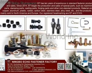 Bolts, Screws, Nuts, Washers, Special Fasteners, Casting & Forging Parts, Powder Metallurgical Part, Mixer & Nozzle, Stamping Mirror, Stamping Parts, Switch, Plastic Parts, Fittings & Couplings(ECHO FASTENER)